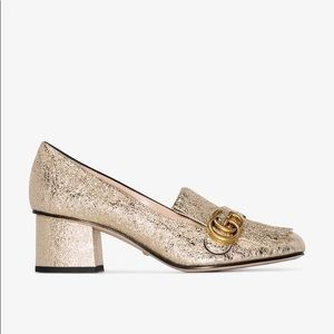 Gucci Marmont metallic mid-heel pumps